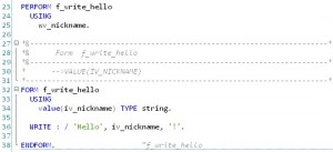 ABAP - Hello World - Sous-programme (routine)