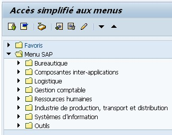Menu accueil SAP