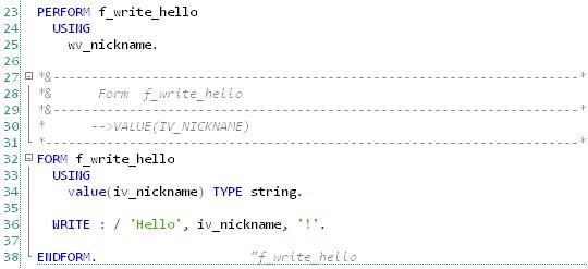 ABAP - Hello World - Sous-programme (routine)