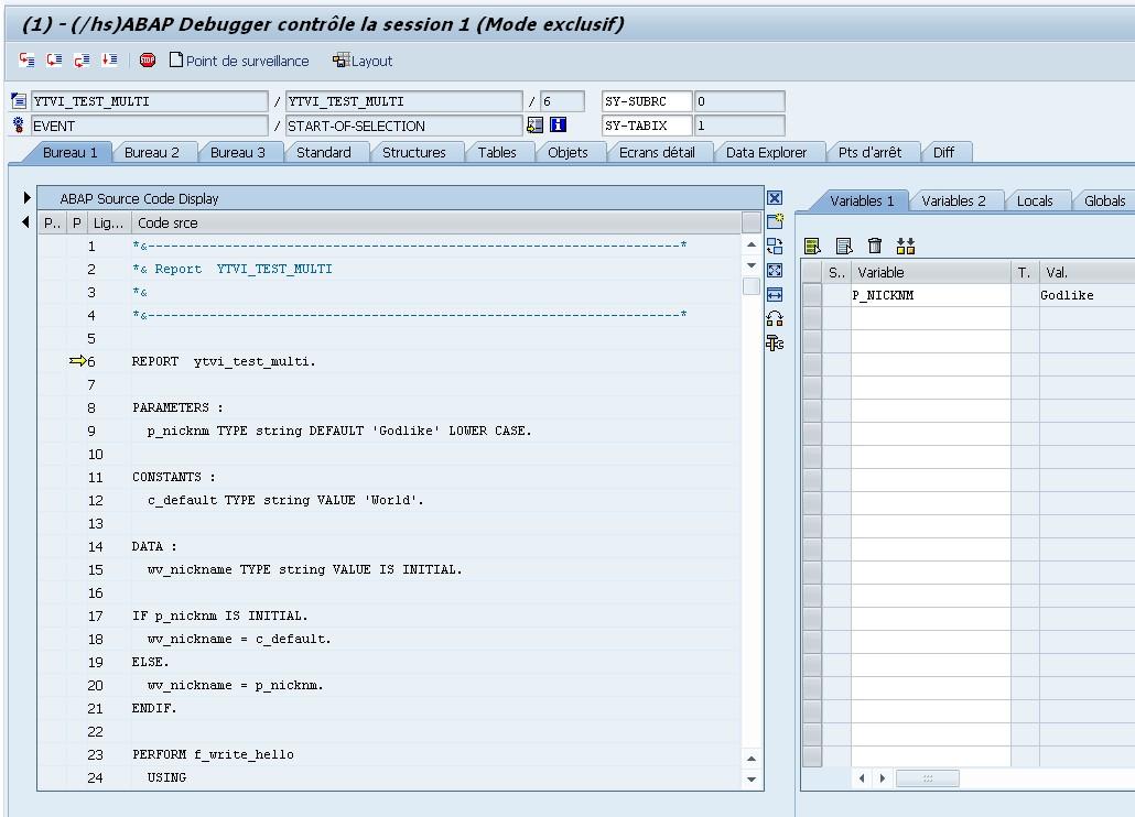 Debugger ABAP - aperçu
