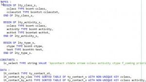 Déclarer une table interne en ABAP